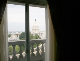 library of Congress window with view of capitol building