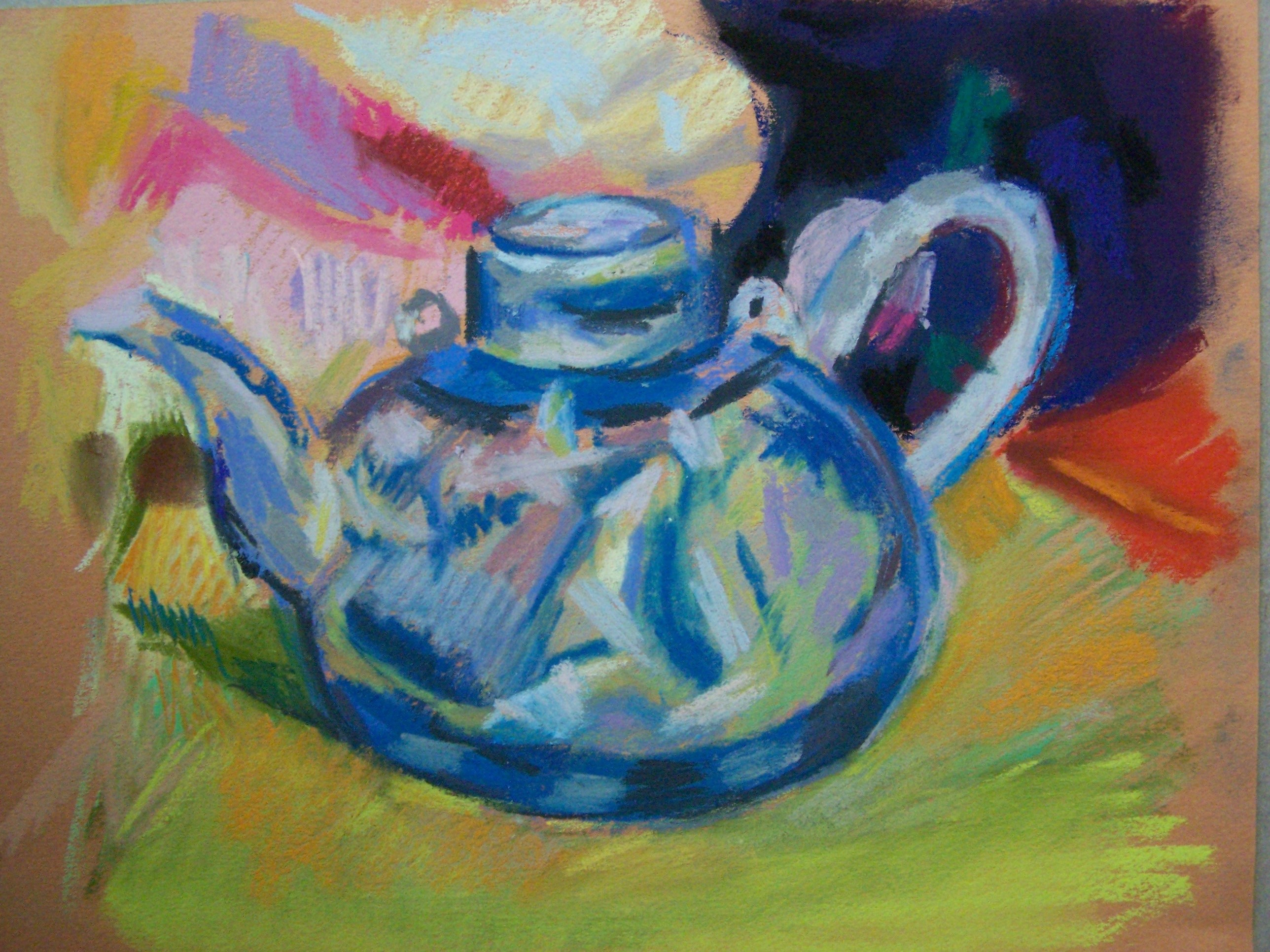 koi teapot with shell in pastel 3