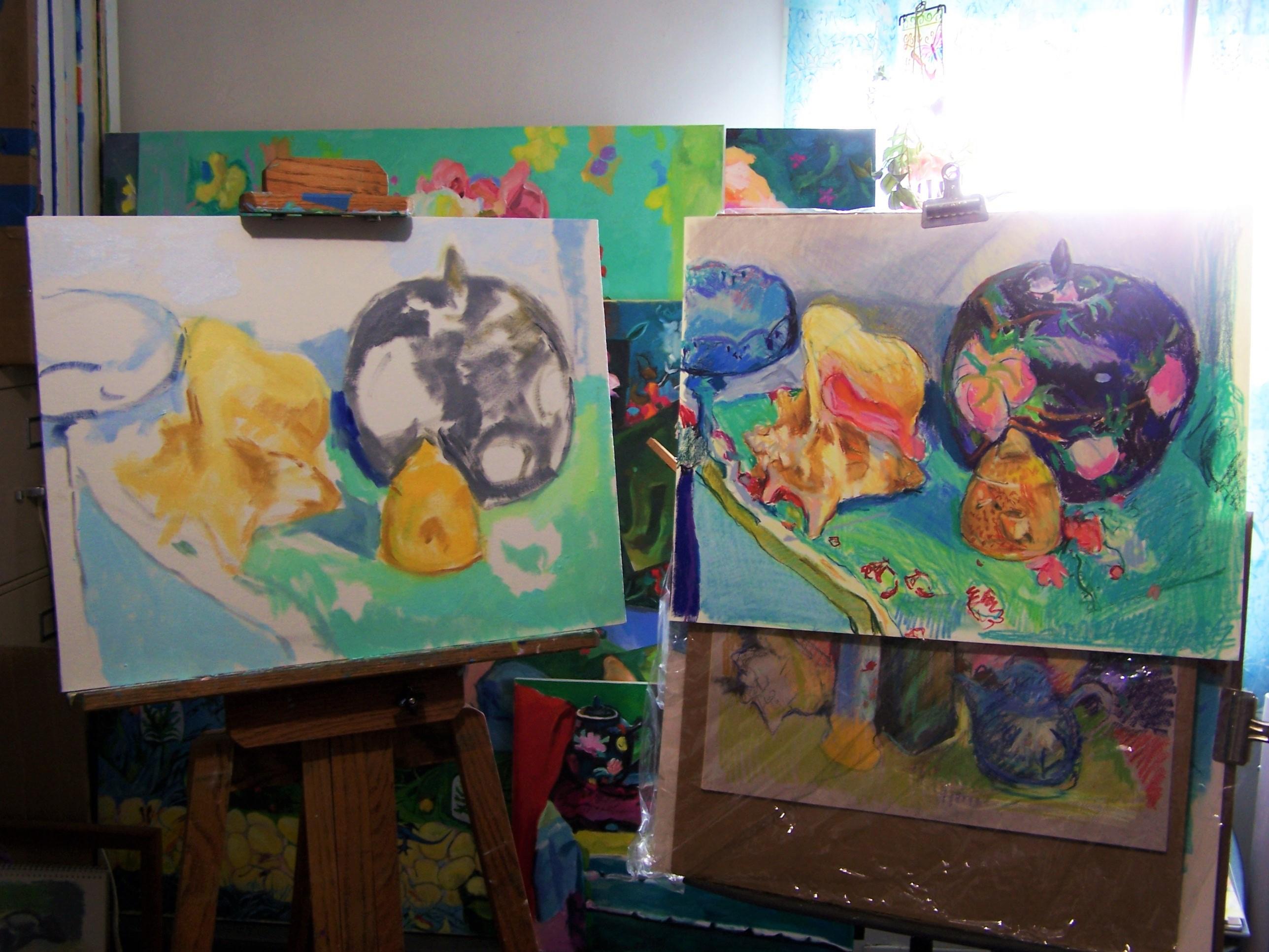 seashell ginger jar and honey pot painting start